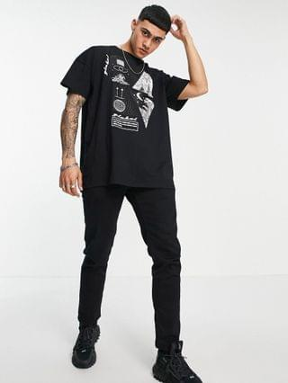 Liquor N Poker oversized T-shirt in black with astrology graphic print