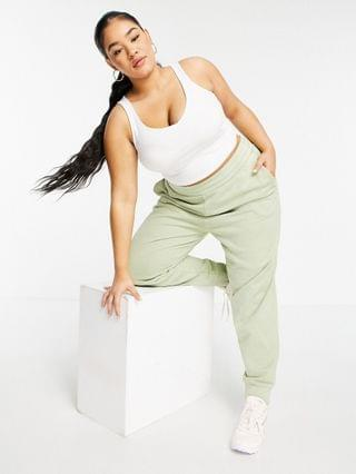 WOMEN Reebok Plus natural dye logo cuffed sweatpants in harmony green