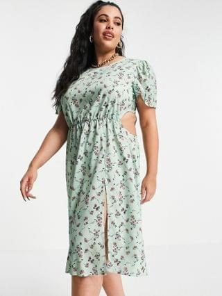 WOMEN In The Style Plus x Olivia Bowen cut out side maxi dress with thigh split in sage floral print