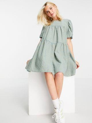 WOMEN In The Style x Olivia Bowen puff sleeve tiered smock dress in green check print