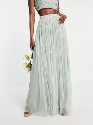 WOMEN Anaya With Love Tall Bridesmaid tulle maxi skirt set in sage