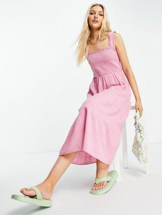 WOMEN New Look shirred strap tiered midi dress in pink