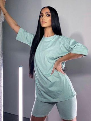 WOMEN In The Style x Siannise Fudge oversized t shirt in sage
