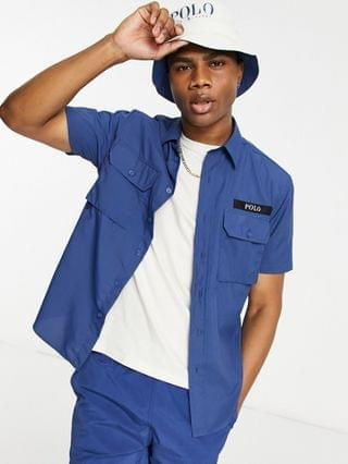 MEN Polo Ralph Lauren x exclusive collab utility short sleeve overshirt in navy with back print pony logo