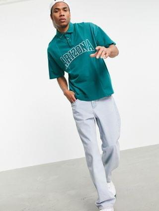 oversized polo t-shirt with print in green