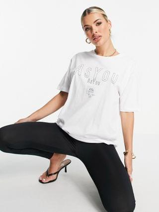 WOMEN ASYOU branded embroidery t-shirt in white