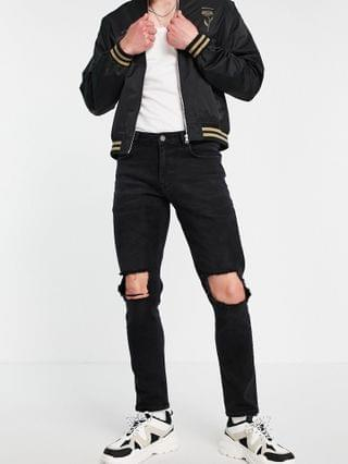 stretch slim jeans with knee rips in washed black