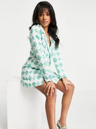 WOMEN Collective the Label Petite blazer dress with crystal buttons in green jewel print