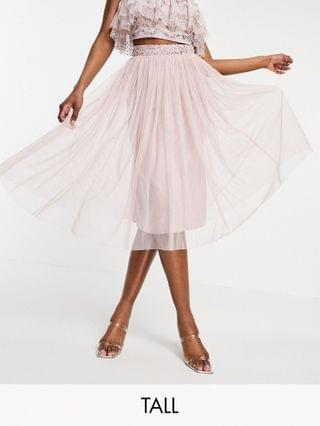 WOMEN Maya Tall cold shoulder embellished crop top and tulle midi skirt with slit set