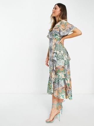 WOMEN Never Fully Dressed ruffle hem wrap midaxi dress in patchwork paisley print