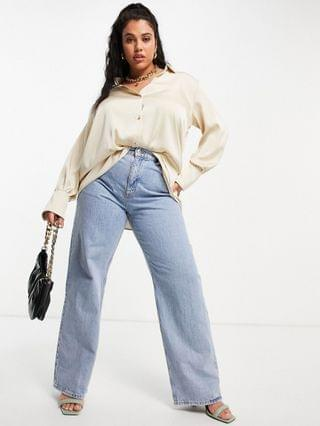 WOMEN Pretty Lavish Curve Naomi relaxed shirt in taupe