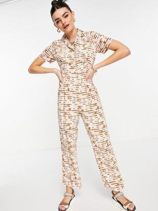 WOMEN Fashion Union button through jumpsuit with waist detail in retro floral