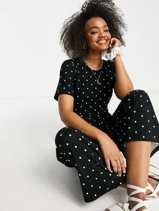 WOMEN Wednesday's Girl relaxed belted jumpsuit with wide leg in polka dot