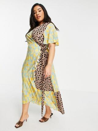 WOMEN Never Fully Dressed Plus ruffle hem wrap midaxi dress in contrast leopard print