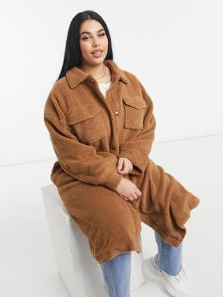 WOMEN In The Style Plus x Naomi Genes teddy longline coat in camel