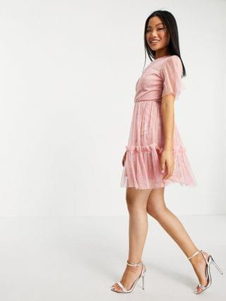 WOMEN Anaya with Love Petite mini dress with flounce skirt in pink embossed tulle