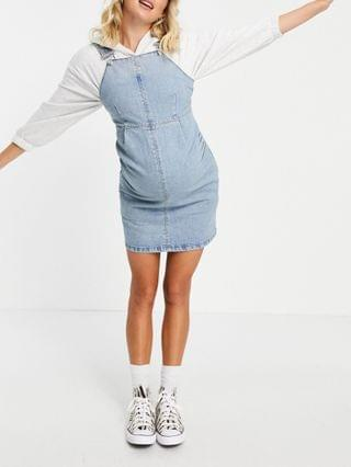 WOMEN Maternity overalls dress in midwash blue