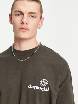 Daysocial oversized long sleeve t-shirt with slogan back print in brown