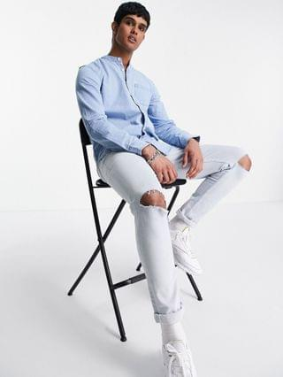 New Look denim shirt with grandad collar in light blue