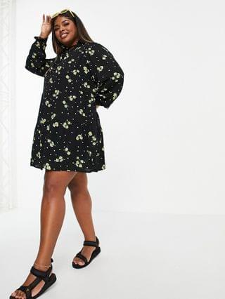 WOMEN Simply Be high neck tiered smock dress in black floral print