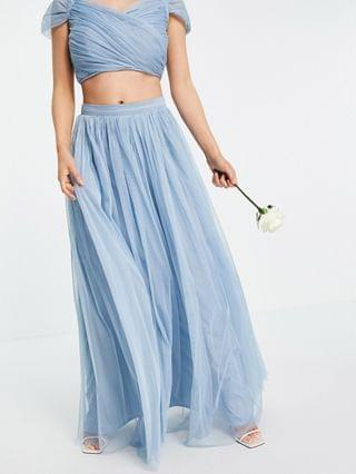 WOMEN Anaya With Love Petite Bridesmaid tulle maxi skirt set in soft blue