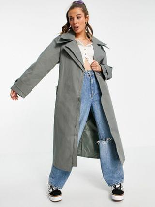 WOMEN double layer trench coat in charcoal