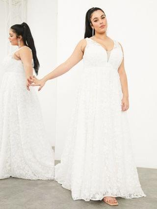 WOMEN EDITION Curve Florence sleeveless embroidered wedding dress with plunge