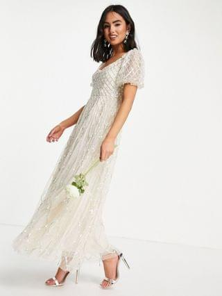 WOMEN Needle & Thread Bridal midaxi dress in ivory with silver gingham embellishment
