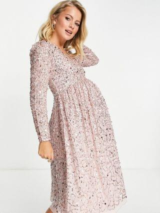 WOMEN Maya Maternity embellished midi wrap dress in frosted pink