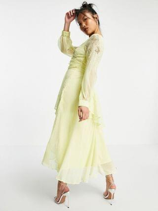 WOMEN Petite embellished wrap waist midi dress with double layer skirt & long sleeve in soft yellow