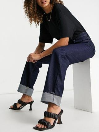 WOMEN Reclaimed Vintage inspired 90's dad jean in raw sustainable denim with hem turn ups