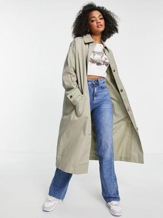 WOMEN longline trench coat in khaki