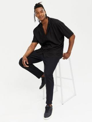 New Look short sleeve shirt with deep revere collar in black