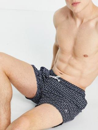 New Look geo print swim shorts in light blue