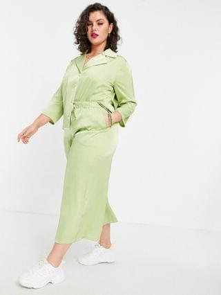 WOMEN Fashion Union Plus relaxed wide leg matching pants in lime satin