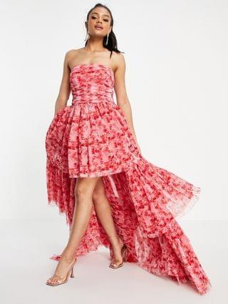 WOMEN Lace & Beads exclusive high low tulle maxi dress in red floral