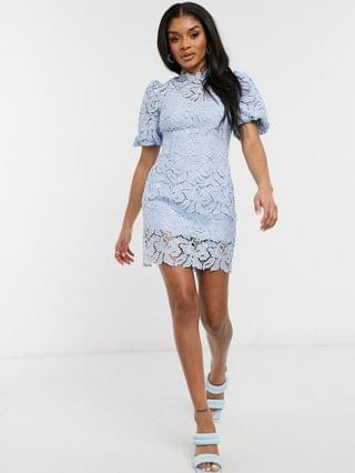 WOMEN Ever New Petite puff sleeve high neck lace mini shift dress in blue