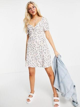 WOMEN Wednesday's Girl mini dress with ruched front in cute floral
