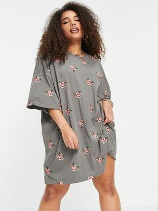 WOMEN Curve oversized t-shirt dress with floral embroidery all over design in gray