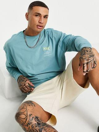 oversized organic long sleeve T-shirt in green with NYC sleeve print