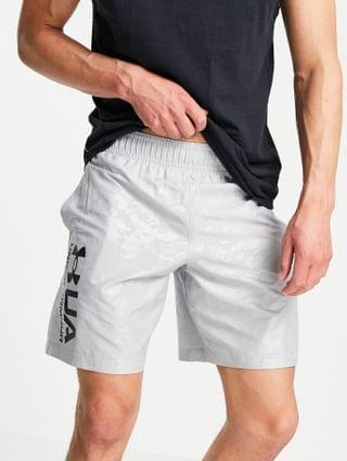 Under Armour Training woven embossed logo shorts in gray camo