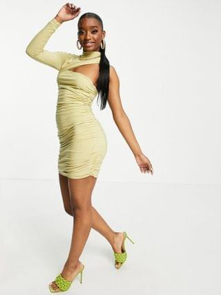 WOMEN Club L London ruched one shoulder cut out mini dress in sage