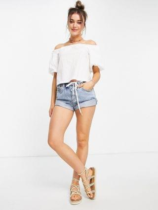 WOMEN off the shoulder sun top with volume sleeves in ivory