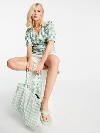 WOMEN Nobody's Child frill collar wrap blouse in gingham