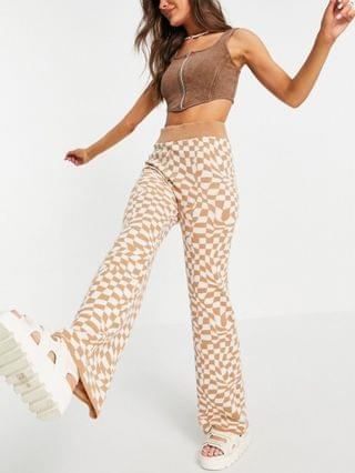 WOMEN knit flare pants in distorted checkerboard pattern in camel - part of a set