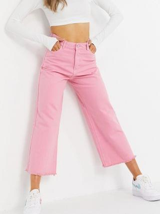 WOMEN Neon Rose relaxed wide leg jeans with raw edge in bright pink denim set