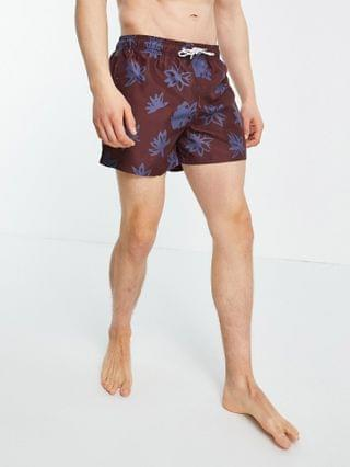 New Look floral print shorter length swim shorts in burgundy