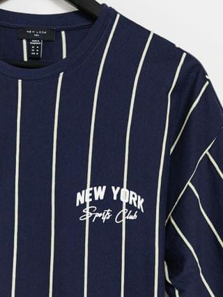 New Look vertical striped t-shirt with NY embroidery in blue