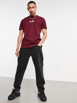 ellese small central logo t-shirt in burgundy exclsuive to