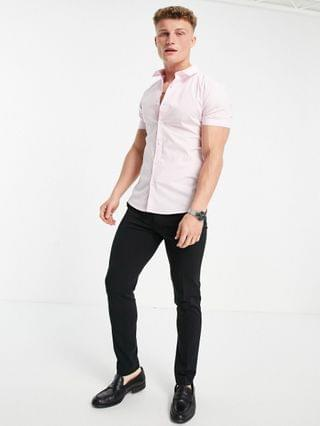 New Look short sleeve muscle fit poplin shirt in light pink